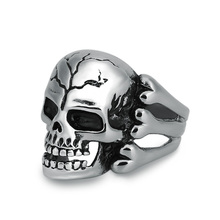 New Fashion Stainless Steel Silver Color Mens Skull Head Finger Rings With Bones Gothic Punk Biker Male Jewelry Wholesale (A475)(China)