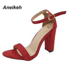 Aneikeh Summer 2017 Shoes Sandals Peep-toe High Heels Buckles Thick With Sandals Roman Women Sexy Shoe Size 35-40 118-2#