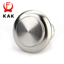 KAK Diameter 24mm 28mm Zinc Satin Nickel Cabinet Pull Cupboard Drawer Handle Knobs Wardrobe Handle With Screw Furniture Hardware(China)