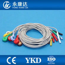 Free Shipping Holter Cable DIN 10-lead ECG leadwires electrode Snap/ AHA(China)