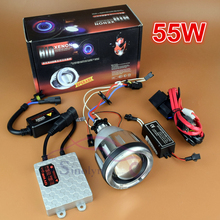 Motorcycle accessories Headlight 55W AC HID Bi xenon Projector Lens Lamp Full Kit with CCFL Angel Eye Halo Devil Demon Eyes