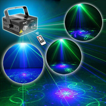 2016 NEW 3 Lens 40 Patterns GB Mini Laser Light Show Blue LED Stage Lighting Effect Home Party DJ Disco Light With Remote