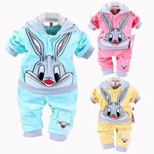 New Baby Girls Clothing Set Cartoon Rabbit Hello Kitty Spring Lovely Baby's Sets Children Clothes Casual Velour Kids Clothing
