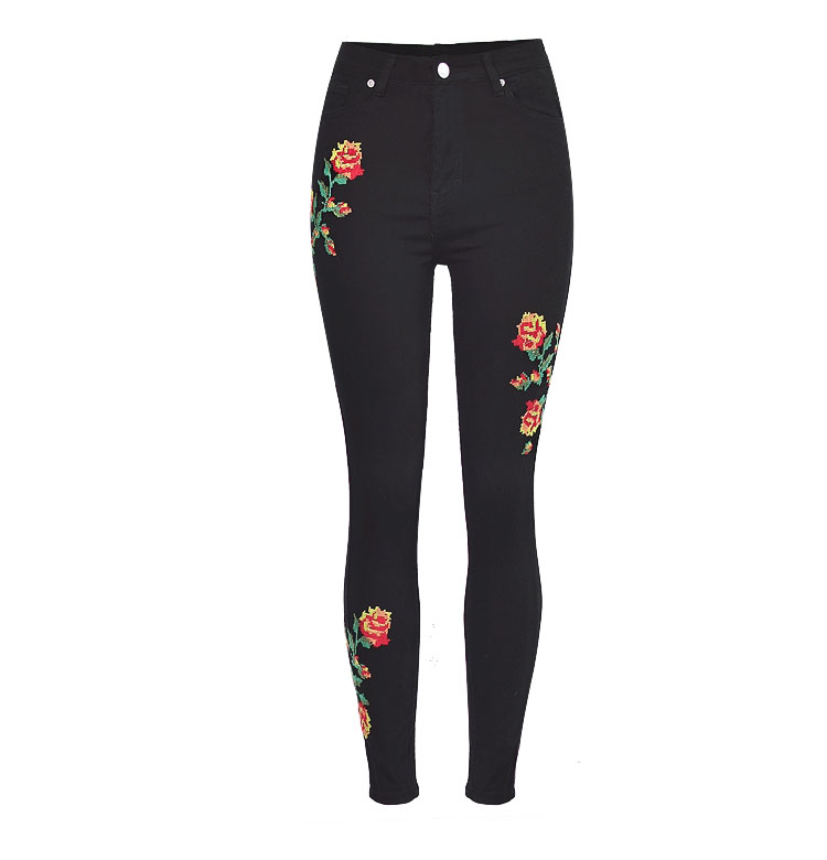2017 European and American women hot high waist Slim stretch front and rear side cross embroidery roses cowboy pants pants pants (9)