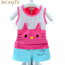 2017 Cartoon cat Summer Baby Clothing Sets Children Boys Girls Kids Brand Sport Suits Tracksuits Cotton Short + Pants 2pcs