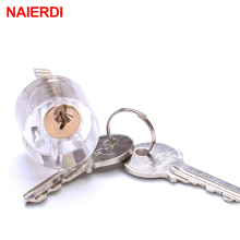 NAIERDI Cutaway T-Lock Transparent Lock Training Skill Professional Visable Practice Padlocks Lock Pick For Locksmith With Keys
