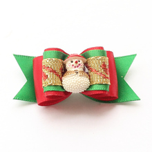 Armi store Handmade Small Accessories Dog Christmas Bows Snowman Ribbon Dog Bow 6025024 Pet Hair Supplies