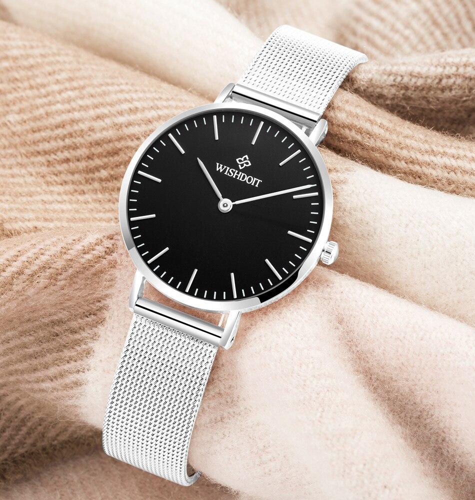 146889a478b WISHDOIT Relógio Relógios Das Mulheres marca de Moda de Lazer das mulheres  das senhoras vestido de Relógios De Couro à prova d  água de Aço Analógico  ...