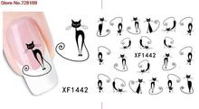 cute DIY black cat design Water Transfer Nails Art Sticker decals lady women manicure tools Nail Wraps Decals wholesale(China)
