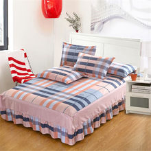 Hot sale Pink blue gray plaid Stripe 100% Cotton elastic Mattress Cover Petticoat Twin Full Queen Bed Skirts Bedspread bedding(China)