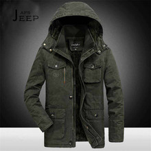 AFS JEEP 6xl/7xl/8xl Plus Size Hooded Winter Parkas Solid Miliar Cotton Coat 2017 winter Male Field Working Warm Motorcycle coat(China)