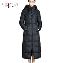 HIJKLNL 2017 new winter hooded x-long down jacket for women female thicker black down coat padded jacket parka mujer LZ348