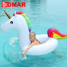 DMAR Inflatable Unicorn Swimming Ring Giant Pool Float Mattress Swimming Circle for Kids Adult Beach Water Party Toys Best Gift(China)