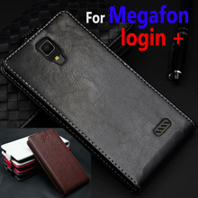 Classic Luxury Genuine Leather Flip Up and Down Leather case For Megafon login + login+ Phone housing Cover Case With Card Slot(China)