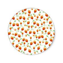 3.8cm Orange Flower Pattern Classic Round Sticker