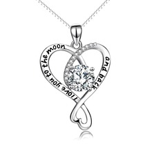 YFN Genuine 925 Sterling Silver Cross Love Heart Crystal Pendant I Love You To The Moon And Back Pendant Necklace Gift For Women