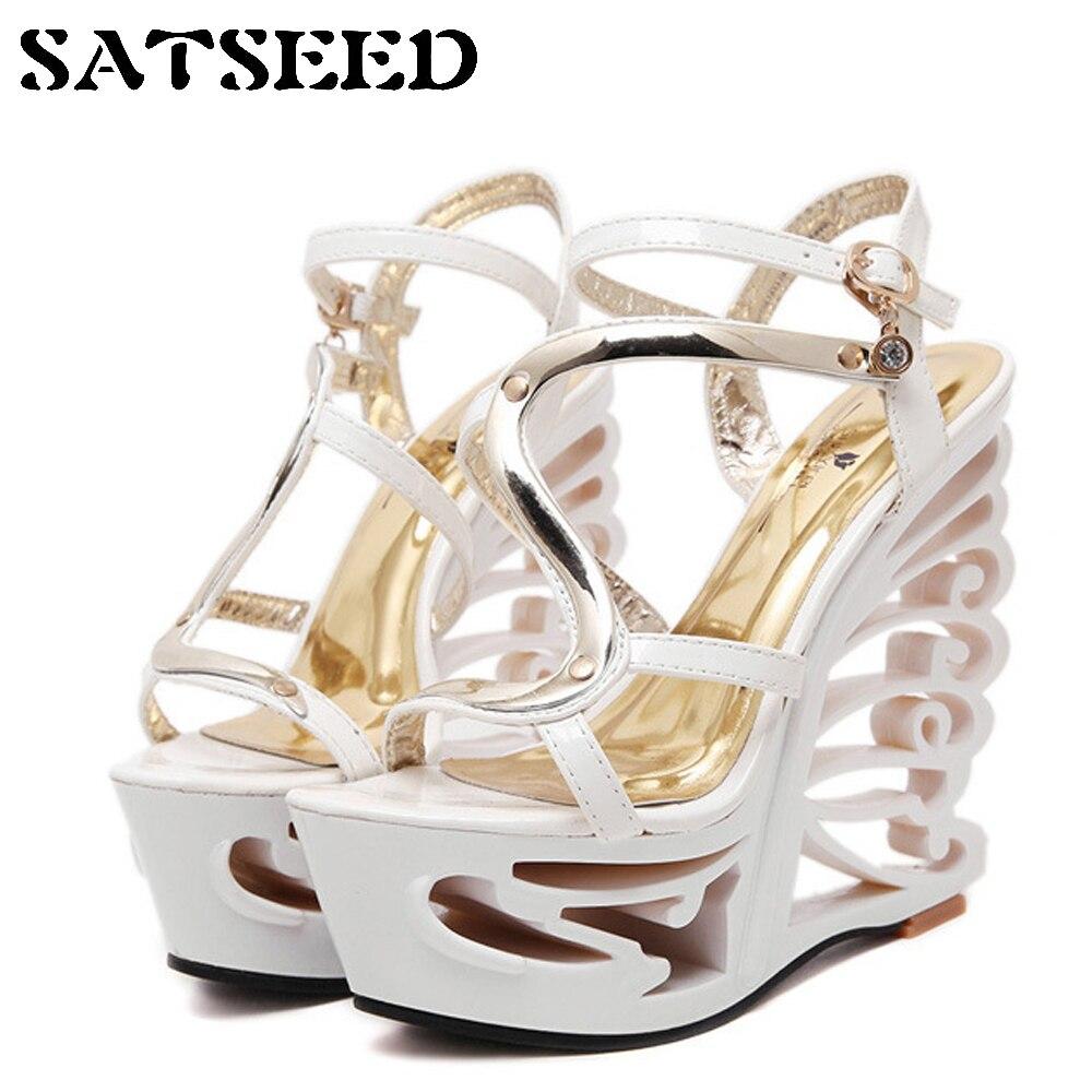 Fashion 2018 Summer Women Wedges Sandals Extreme High Heels 14cm Nightclubs Shoes Sexy Super High Heels Sandals Women Superstar<br>