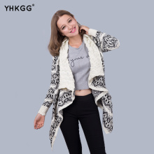2016 YHKGG Cardigan Women Winter Manufacturers Selling New European Style Large Irregular Shawl Lapel Cardigan Sweater Coat(China)
