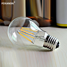 Foxanon LED Filament Light E27 Glass Housing Leds Filament Blub Lamps 220V 2W 4W 6W 8W 360 Degree Retro Dimming Candle Dimmable