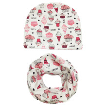 1 set beautiful heart tree bunny car printed cotton baby cap scarf set boy girls hat collars Kids beanies children cap scarves