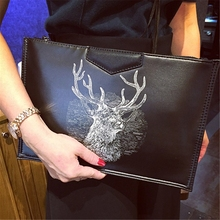 2017new female deer head clutch fashion handbag shoulder's large capacity tide Xiekua package