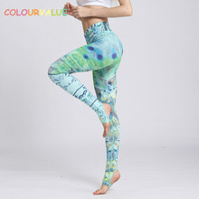 Buy Colourvalue Anti-sweat Peacock Printed Yoga Pants Women Stretchy Fitness Foot Tights Elastic High Waist Workout Sport Leggings for $16.70 in AliExpress store
