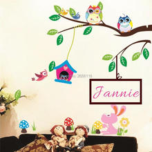 Custom Baby Name Art Wall Stickers Creative Cartoon Owls Tree Branch Decorative Wall Decal for Kids Room Decor