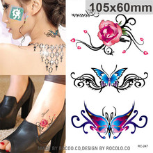 waterproof temporary tattoos for lady women Beautiful 3d rose butterfly Jewelry design flash tattoo sticker Free Shipping RC2247