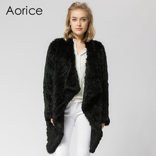 CR021Knitted knit real rabbit fur coat overcoat jacket Russian women's winter thick warm genuine fur coat grey colour