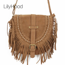 LilyHood 2017 Women Fringed Messenger Bag Faux Suede Fringe Tassel Boho Hippie Gypsy Bohemian Tribal Ibiza Style Cross body Bag