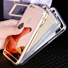 New Rose gold Luxury Mirror Soft Clear TPU Case For iphone 6 6S 7 Case iPhone6 7 Plus Cases 5se 5s 5 4 4s Cover Phone Back Cases