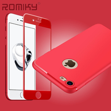Romiky Red Color 3D Screen Protector Tempered glass + Ultra Thin Soft TPU Case For Iphone 7 6s 6 Plus Full Cover Films Bags