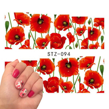 1 sheet Charming Nail Decals Full Wraps Flowers Water Transfer Nail Stickers Decorations DIY Watermark Manicure Tools SASTZ094