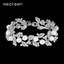 Mecresh Simulated Pearl Bracelets for Women Silver Color Link Chain Crystal Bridal Wedding Jewelry Bracelets & Bangles SL089(China)