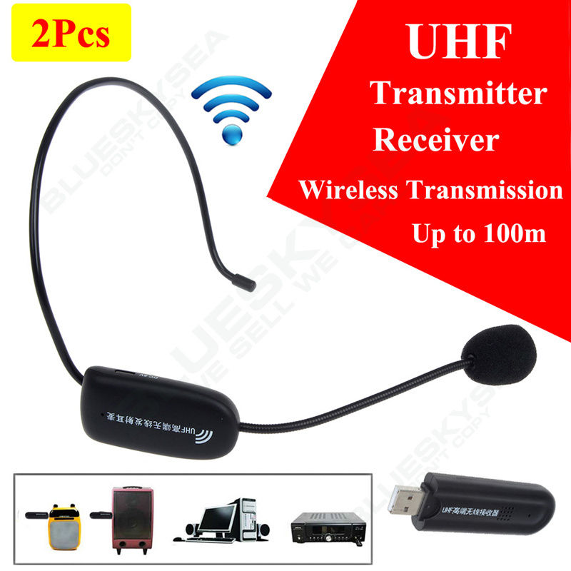 Free shipping! 2x Mic UHF Wireless 100m Transmitter Receiver Microphone Headset Fr Loudspeaker<br><br>Aliexpress
