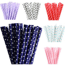 25pcs/lot Mini Dot Paper Straws for Kids Birthday Wedding Decoration Party Straws Event Supply Creative Paper Drinking Straws