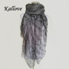 New Fashion Women Music Note Print Long Scarf Elegant Scarves Neck Wrap Stole Neckerchief High Quality lady scarves(China)