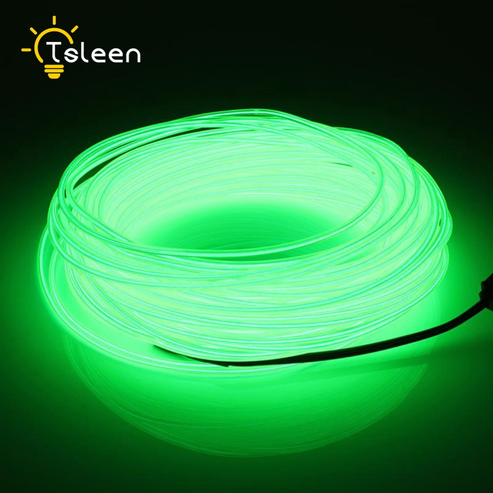 TSLEEN AA Battery Power LED Strip 2 3 5M LED light EL Wire Tube Rope Flexible Neon Light Car Party Wedding Decor With Controller(China)
