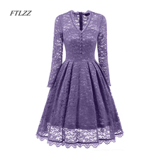 Buy New Spring Summer Women Lace Dress V-neck Long Sleeves Slim Elegant Sexy Dress Evening Party Womens Vintage Lace Dresses for $22.39 in AliExpress store