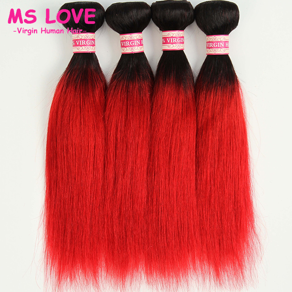 1b#27,1b#30,1b#118,1b# Red Ombre Red Hair Extensions 3PCS  Virgin Ombre Brazilian Hair ombre hair bundles Burgundy Straight Hair<br><br>Aliexpress