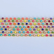 Discount 3m/lot 2mm/4mm Mixed color Rhinestone Chain Acrylic Rhinestone Chain Sew on Cup chain for clothing ornament accessories
