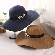 HT1163 High Quality Summer Sun Hats for Women Solid Large Brimmed Sun Hats Black White Floppy Hats with Pearls Ladies Beach Hat(China)