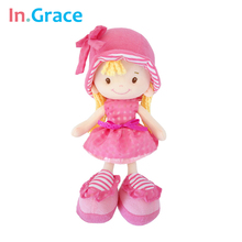 In.Grace cute 2colors stuffed beautiful dolls for kids girls with purple hat and princess dress sweet birthday dolls for girls
