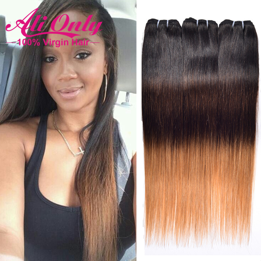 New Arrivel T1B/4/27 Ombre Human Hair Weave Malaysian Virgin Hair 3 Bundle Deals Soft Malaysian Straight Hair Style Ombre Weave<br><br>Aliexpress
