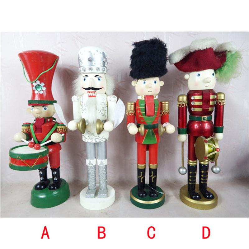 ht089 Free shipping Movable wood doll puppets musician soldier nutcracker puppet 36 cm children Christmas gift<br>
