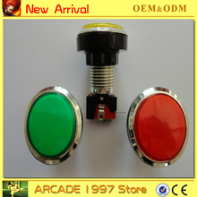 chrome plated 10pcs/lot  46 mm black circle  Illuminated 12v  push button diy arcade part with microswitches and led light