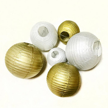 Wedding Decoration Paper Lantern 4/6/8/10/12/14/16 Inch Gold Silver Birthday Party Decorations White Chinese Lantern Supplies(China)