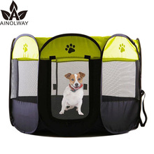 Portable Folding Cage Pet Dog House Playpen for Dogs Cat Tent Puppy Kennel Easy Operation Octagonal Fence Outdoor Supplies