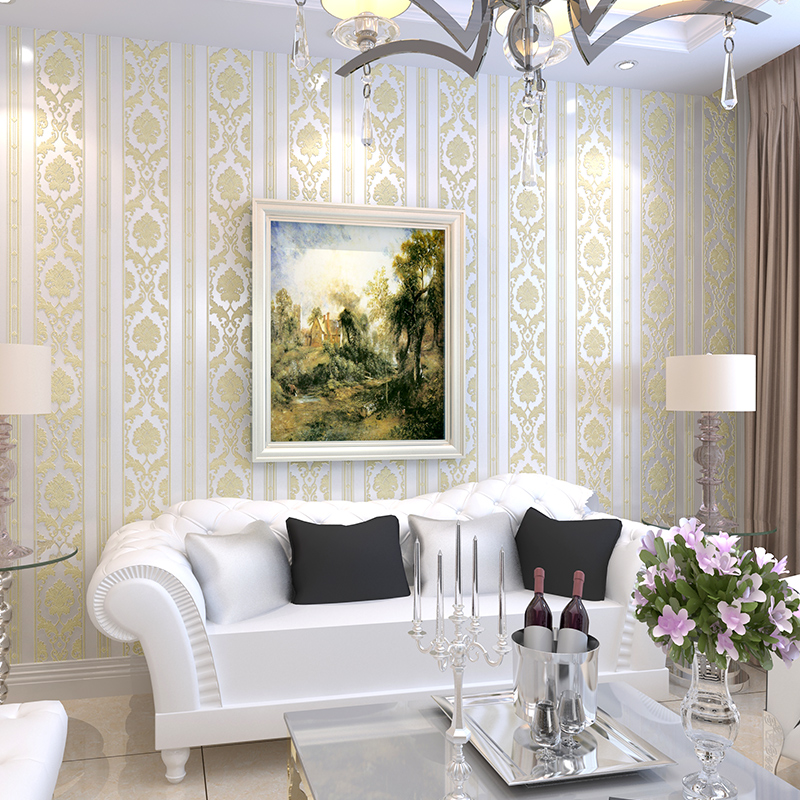 New Bedroom Stereo Wallpapers 4d Stereo Nonwovens Wallpaper European Style Vertical Striped Living Room TV sofa Background<br>