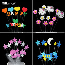 Baby Shower Cupcake Picks Cake Toppers Star Kt Cupcake Topper Kids Happy Birthday Party Baking Accessories Cake Decor Supplies(China)